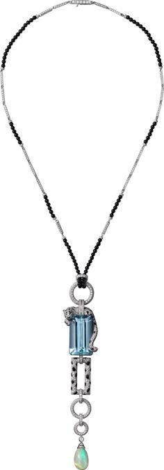 High Jewelry Panthère de Cartier necklace Platinum, aquamarine, opal, sapphires, onyx, diamonds