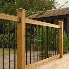 BuildDirect – Wood Railing Kits - Traditional Series – Pine - Straight Black Baluster