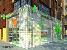 Modern drugstore design proposal: austere, bright, optimistic - Read our concept… Design Exterior, Shop Interior Design, Retail Design, Store Design, Interior And Exterior, Pharmacy Store, Counter Design, Store Displays, Retail Shop