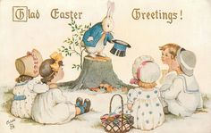 GLAD EASTER GREETINGS!  rabbit doffs hat to children