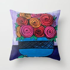 Bowl of Roses Throw Pillow by claudineintner Bright Colors, Art Decor, Colorful, Throw Pillows, Rose, Painting, Toss Pillows, Pink, Bold Colors