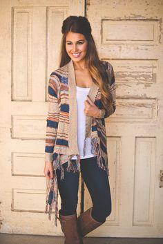 Dottie Couture Boutique - Khaki Fringe Sweater, $54.00 (http://www.dottiecouture.com/khaki-fringe-sweater/)