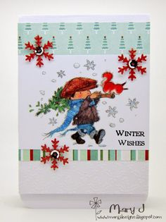 "Using the 'Tis the Season pad and he very conveniently goes well with the Festive Trimmings 8"" x 8"" paper pad by Lili of the Valley"