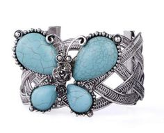 Silver Plated Butterfly Bracelets Turquoise Butterfly Free Shipping