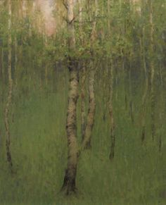 Birch Trees in Spring 35 x 25 cm, 2008, oil on panel. Charles Weed