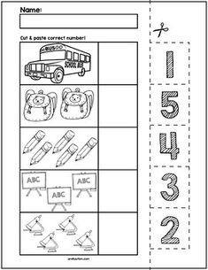 Back to School Cut & Match Worksheets | Numbers 1-5