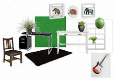 green curtains, black rug? black & white desks, white cube, white picture frames