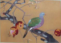 kare zakuro ni kinbato (banshuu)  Dried Pomegranate and Emerald Dove (Late Autumn)