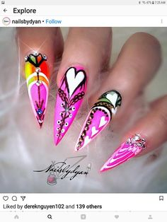 Valentine Nail Art, Cute Nails, Beauty, Pretty Nails, Beauty Illustration