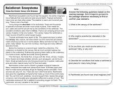 Ecosystems | 4th Grade Science | Reading Comprehension, 4th grade ...