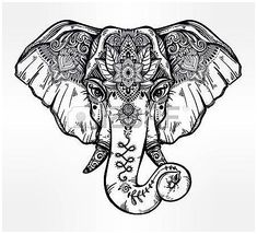 #Tattoos #Tattoo #SpiritualTattooIdeas lotus flower tattoo designs: Decorative elephant with ethnic lotus ornament. Illustration , click for more info..