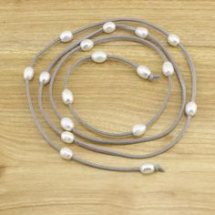 """Aobei Long White Freshwater Pearls with Grey Suede Leather 68"""" Cord Wrap Necklace/bracelet - Best Deal From Cap"""