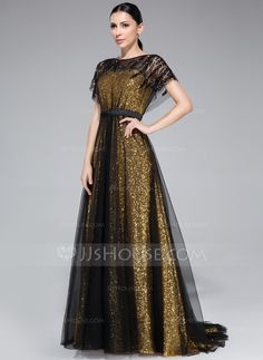 A-Line/Princess Scoop Neck Sweep Train Tulle Sequined Evening Dress With Ruffle Beading (018046262) - JJsHouse