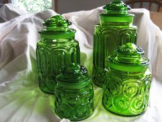 L E Smith Glass Canister Set - Green Emerald -Vintage Set of 4 Jars - Moon and Stars Pattern