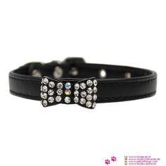 Collar Negro Perro Pequeño con Arco con Strass - Collar de falso cuero de color Negro, para un perro pequeño (Chihuahua, caniche, maltés), que se caracteriza por un arco con strass en el centro