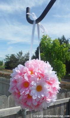 DIY silk flower kissing balls for parties or weddings.