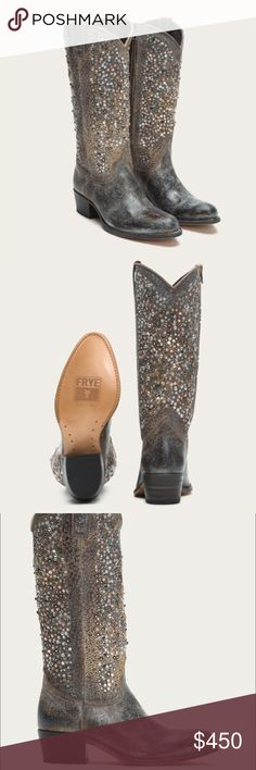 """Frye Deborah grey ✨NEW✨ With great boots comes great responsibility - don't walk near busy streets with these traffic-stoppers. The Deborah Studded Tall is the very definition of a statement piece, dropping jaws and velvet ropes in its path.The tall shaft is encrusted with tri-colored metal studs over distressed and perforated full grain leather.  - Leather lined - Leather with rubber outsole - Goodyear welt construction  - Made in Spain - 14 3/4"""" circumference/14"""" shaft height/ 1 3/4 heel…"""