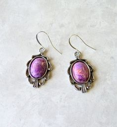 Earrings Antique Silver Ribbon Oval Lucite by TAKJewelryDesigns, $8.00