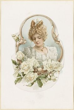 Victorian lady with roses postcard