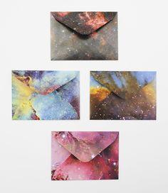 DIY galaxy envelopes.