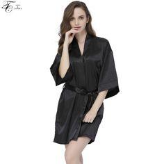 Tony Candice Women s Satin Silk Bathrobes Sexy Short Kimono Dressing Gown  Ladies Sleepwear Female Nightwear Half Sleeve 8a28b5d65