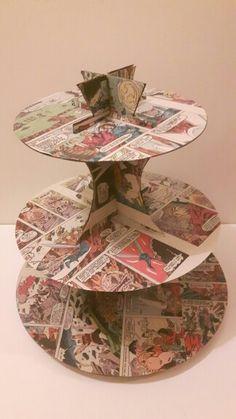 Homemade comic book cupcake stand