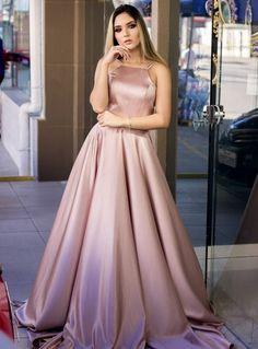 Champagne Prom Dresses,Halter A-line Prom Evening Dresses Grad Dresses, Satin Dresses, Dance Dresses, Elegant Dresses, Pretty Dresses, Homecoming Dresses, Beautiful Dresses, Dress Outfits, Evening Dresses