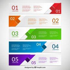 Bandeiras coloridas abstratas para o infográfico