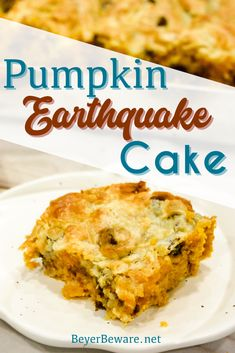 Pumpkin Chocolate Chip Earthquake Cake is the simple recipe of a three-ingredient cake with a buttery cream cheese and chocolate chip topping for the best pumpkin recipe. #Cake #FallFood #Pumpkin #EasyRecipe #Desserts Best Pumpkin, Pumpkin Spice, Pumpkin Chocolate Chips, Baking Chocolate, Chocolate Chocolate, Chocolate Recipes, Pumpkin Recipes, Fall Recipes, Different Kinds Of Cakes