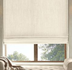 RH's Belgian Heavyweight Textured Linen Flat Roman Shade:Highly functional and aesthetically clean, our custom Flat Roman Shades ensure that the windows themselves are part of the view. Sewn with a smooth front, they come in a variety of natural materials and fabric options that are also available in our drapery collections – allowing you to combine coverings in the same room, or even on the same window, with perfect ease. May also be layered over our Solar or Blackout Roller Shades.Fo...