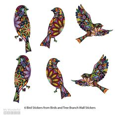 Birds Wall Decals Stickers in Beautiful Floral by MyWallStickers