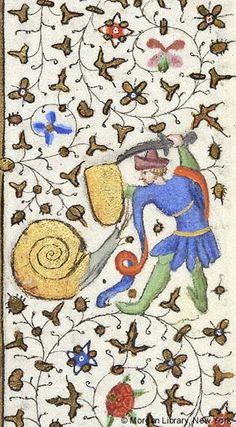 Snail confronting man, wearing hat, extending shield in left hand and raising saber with right hand | Book of Hours | France, Paris | ca. 1425–1430 | The Morgan Library & Museum
