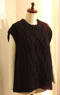 Hand knitted Black Aran Cable knit Fisherman's Sweater Vest Oversized Boxy Relax fit US 8 - US 9 Large COCOdake COuture Non-Itchy Wool Couture Collection, Cable Knit, Hand Knitting, Relax, Vest, Wool, Sweaters, Shopping, Black
