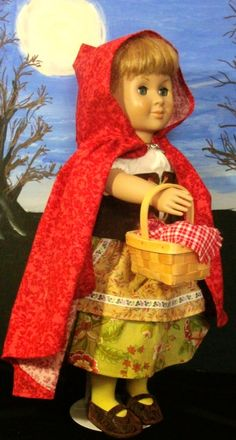 Red Riding Hood costume set for 18 doll OOAK by DebsCharacterDolls