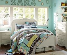 Little round mirrors made to look like flowers...and your name on the wall!  --  55 Room Design Ideas for Teenage Girls