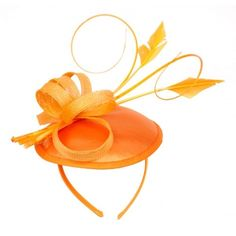 Womans Classy Fascinator Headpiece with Over the Head Ribbon Design -... ($20) ❤ liked on Polyvore featuring accessories, hair accessories, fascinator hat, orange hair accessories, hair fascinators and orange fascinator