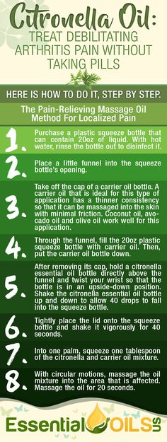 Citronella Oil: Treat Debilitating Arthritis Pain without Taking Pills Citronella Essential Oil, Essential Oil Bottles, Natural Cure For Arthritis, Herbs For Health, Healing Oils, Diffuser Recipes, Massage Oil, Young Living Essential Oils, Herbal Remedies