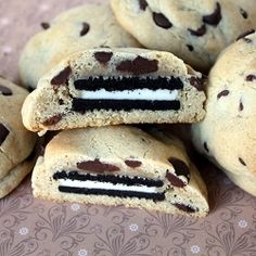 Chocolate Chip Oreo Cookies - Oreo cookies baked inside chocolate chip cookies.