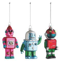 ROBOT Set of 3 multi-coloured Christmas tree decorations | Buy now at Habitat UK