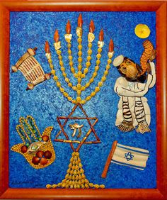 """Judaic for kids', mixed media acrylic painting seashell mosaic."