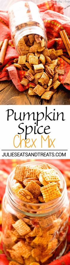 Pumpkin Chex Mix Recipe ~ Butter, Brown Sugar and Spice Make a Quick, Easy Sweet and Crunchy Chex Mix! Plus Make it in Your Microwave! ~ https://www.julieseatsandtreats.com
