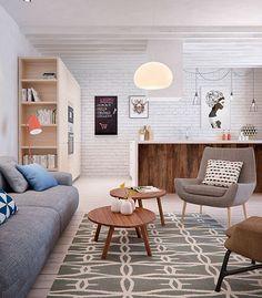 Salón, comedor y cocina integrados en un solo espacio: salón junto a cocina