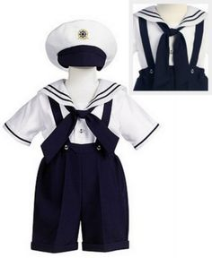 4pc Navy Blue Sailor Outfit w. Suspenders & Hat Infant & Toddler Boys