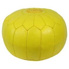 Casablanca Leather Pouf in Yellow