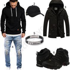 Winteroutift mit schwarzem Hoodie, Parka und Adidas Schuhen (m0825) #hoodie #adidas #armband #jeans #outfit #style #herrenmode #männermode #fashion #menswear #herren #männer #mode #menstyle #mensfashion #menswear #inspiration #cloth #ootd #herrenoutfit #männeroutfit