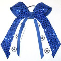 Soccer Soft Touch Sequin Hair Bow, Made in the USA, Avail in Many Colors, Black Pony Band,… Review