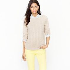 Shop the Cashmere cable boatneck sweater at J.Crew and see the entire selection of Women's Sweaters. Find Women's clothing & accessories at J. J Crew Cashmere, Cashmere Sweaters, Yellow Jeans, Straight Leg Pants, Sweater Jacket, Fashion Forward, Work Wear, What To Wear, Cute Outfits