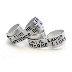 Personalized Message Lyrics Two Finger Ring Custom Silver Double... ($40) ❤ liked on Polyvore