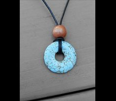 Leather Ancient Turquoise Stone Donut by VenusCalypsoCrafts, $9.50