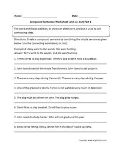 Worksheets Simple Compound And Complex Sentences Worksheet With Answers simple and compound sentences worksheet englishlinx com board andor but worksheet